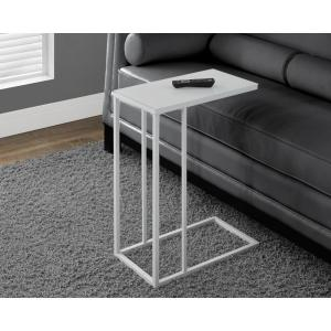 White Metal Glass Top End Table · Monarch Specialties White Metal ...