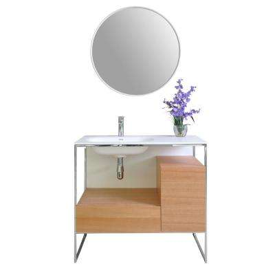 Tory 36 in. W x 18 in. D Vanity in Natural Walnut with Solid Surface Vanity Top in White with White Basin and Mirror
