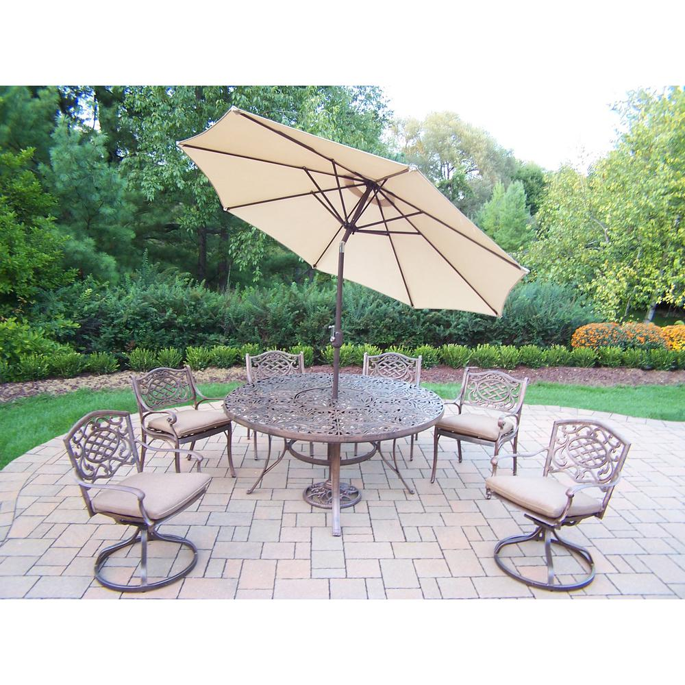 9-Piece Aluminum Outdoor Dining Set with Sunbrella Beige Cushions and Beige