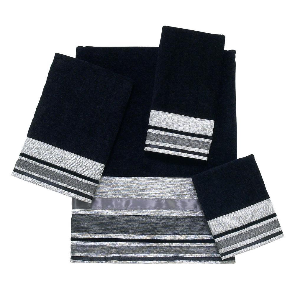 Geneva 4-Piece Bath Towel Set in Black Silver