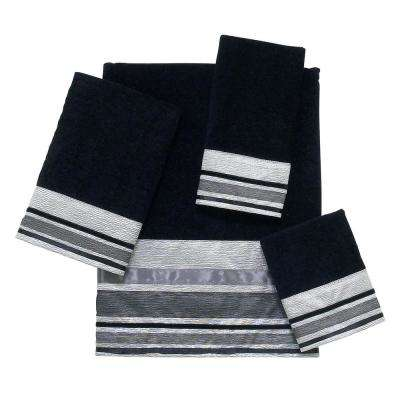 Geneva 4-Piece Bath Towel Set in Black Silver