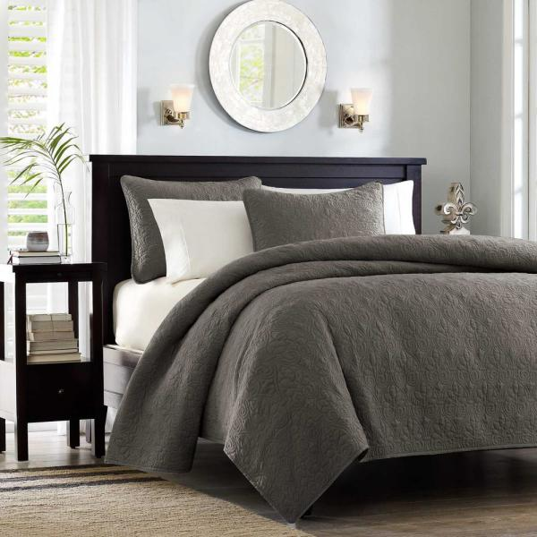 Madison Park Mansfield 3 Piece Dark Grey King Cal King Coverlet