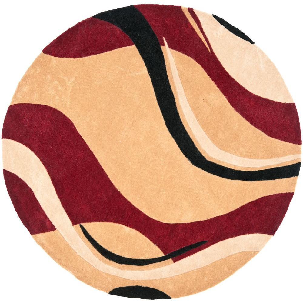 Safavieh modern art rust ivory 7 ft x 7 ft round area for Modern round area rugs