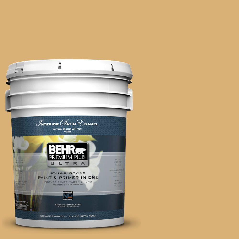 BEHR Premium Plus Ultra Home Decorators Collection 5-gal. #HDC-AC-08 Mustard Field Satin Enamel Interior Paint