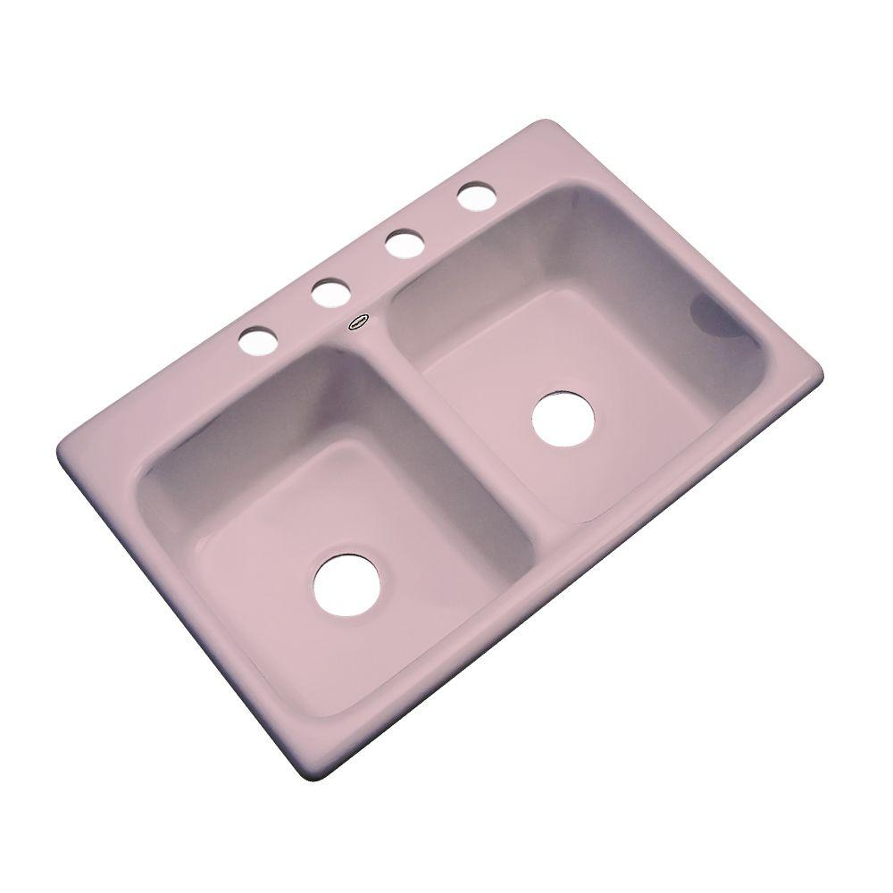 Thermocast Newport Drop-in Acrylic 33x22x9 in. 4-Hole Double Basin Kitchen Sink in Wild Rose