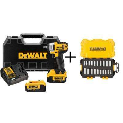 20-Volt MAX Lithium-Ion Cordless 3/8 in. Impact Wrench with (2) Batteries 4Ah, Charger and Bonus Drive Socket Set