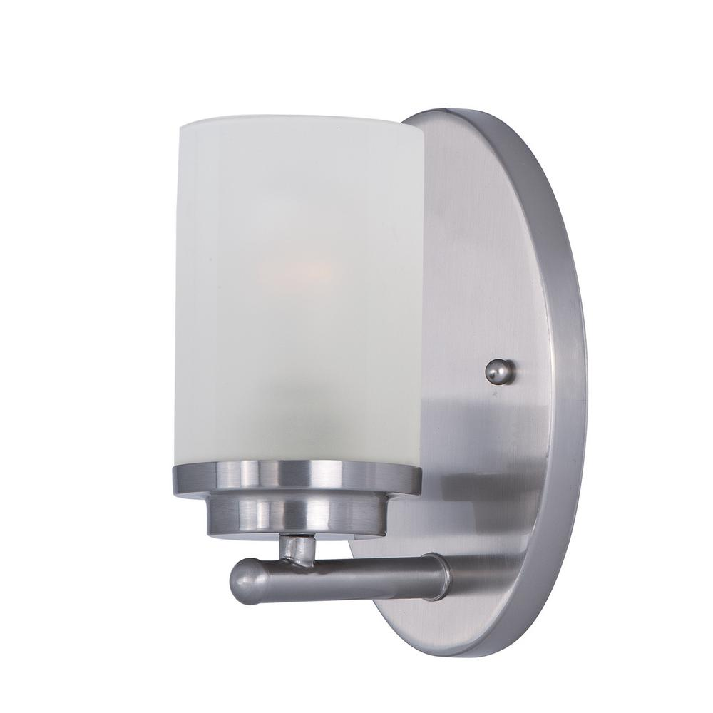 Maxim Lighting Corona 1-Light Satin Nickel Wall Sconce with Frosted Shade