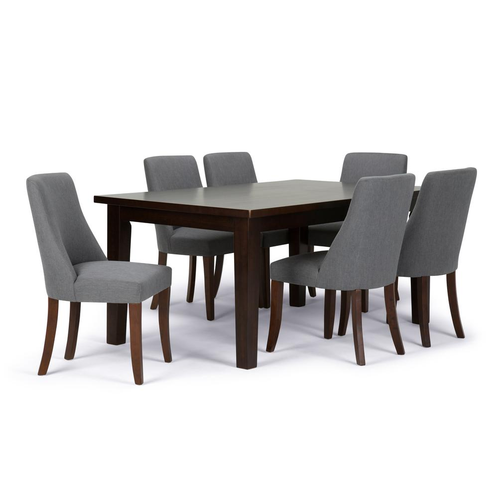 Simpli home walden 7 piece slate grey dining set axcds7wa for 7 piece dining room sets under 1000
