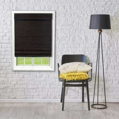 39 in. W x 64 in. L Espresso Cordless Flat weave Bamboo Roman Shade