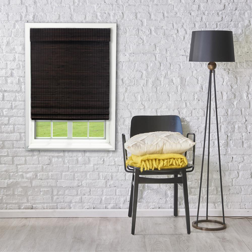 48 in. W x 64 in. L Espresso Cordless Flat weave Bamboo Roman Shade