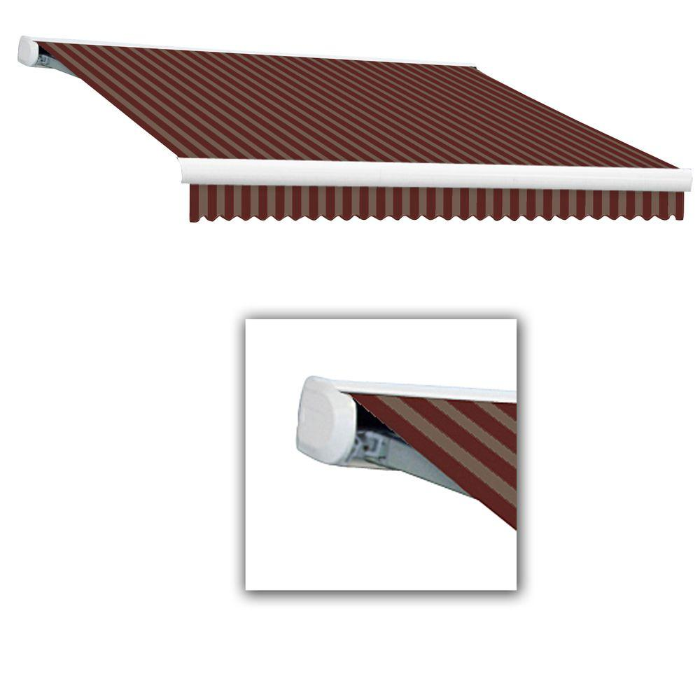 null 18 ft. Key West Right Motorized Retractable Awning (120 in. Projection) in BurgundyTan Stripe