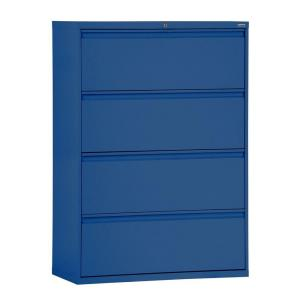 800 Series 42 in. W 4-Drawer Full Pull Lateral File Cabinet in Blue