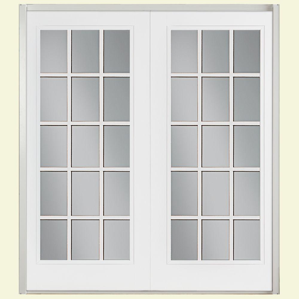 Masonite 60 in. x 80 in. Primed Prehung Right-Hand Inswing 15 Lite Smooth Fiberglass Patio Door with No Brickmold in Vinyl Frame