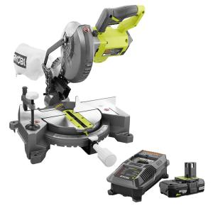 18-Volt ONE+ Cordless 7-1/4 in. Compound Miter Saw with Blade and Blade Wrench with 2.0 Ah Battery and Charger Kit