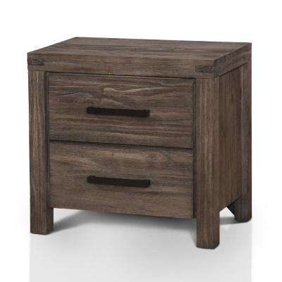Stewart 2-Drawer Wire-Brushed Rustic Brown Nightstand