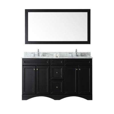 Talisa 60 in. W x 22 in. D Vanity in Espresso with Marble Vanity Top in White with White Basin and Mirror