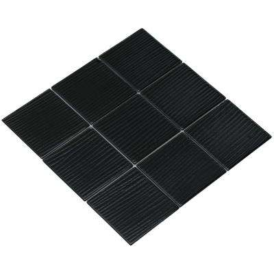 Shilla/01, Shiny Black Glass with Brushed Texture, 4 in. x 4 in. x 4 mm Glass Mesh-Mounted Tile Sample