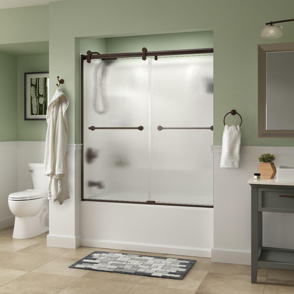 Crestfield 60 in. x 58-3/4 in. Semi-Frameless Contemporary Sliding Bathtub Door in Bronze with Rain Glass