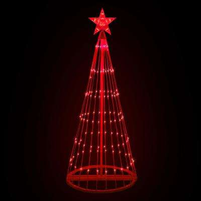 72 in. Christmas Red LED Animated Lightshow Cone Tree with 202 Lights and Star Topper