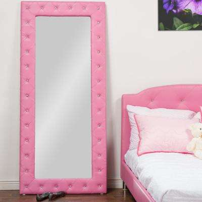 Stella 71 in. H x 31 in. W  Crystal Tufted Pink Faux Leather Upholstered Floor Mirror