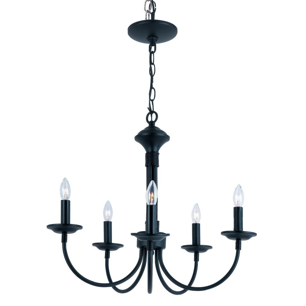 Bel Air Lighting Stewart 5-Light Black Incandescent Ceiling Chandelier
