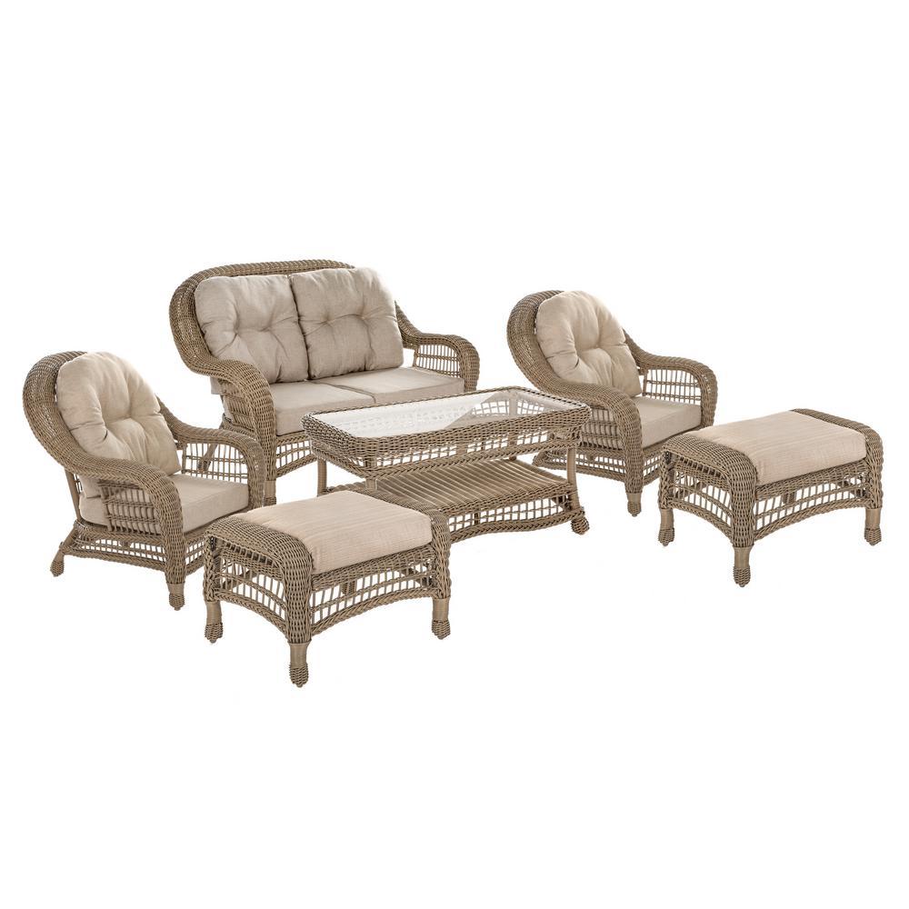 Saturn 6-Piece Wicker Patio Conversation Set with Beige Cushions