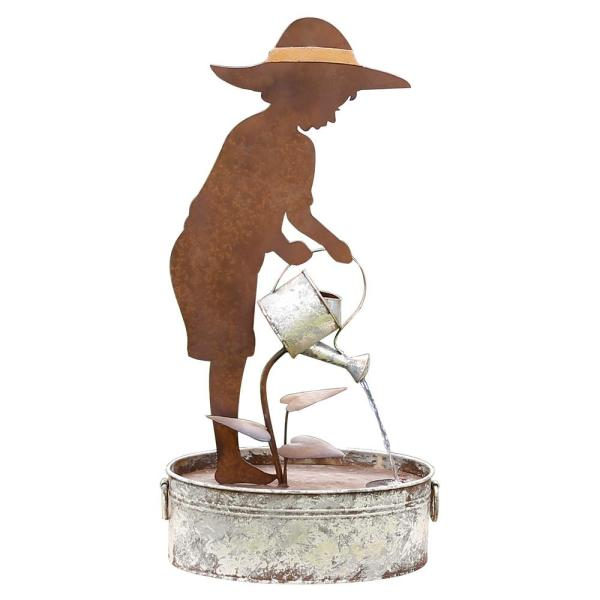 33 in. Tall Rustic Farm Boy Silhouette and Watering Can Waterfall Fountain Yard Decoration