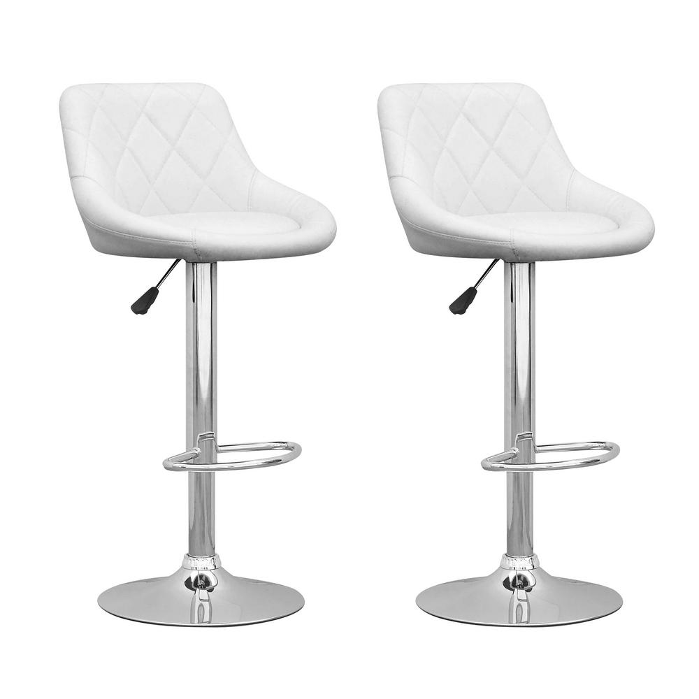 Corliving Adjustable White Leatherette Diamond Back Swivel Bar Stool