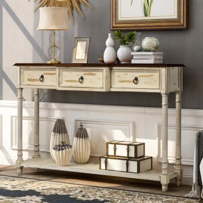 52 in. Beige Standard Rectangle Wood Console Table with 3-Drawers