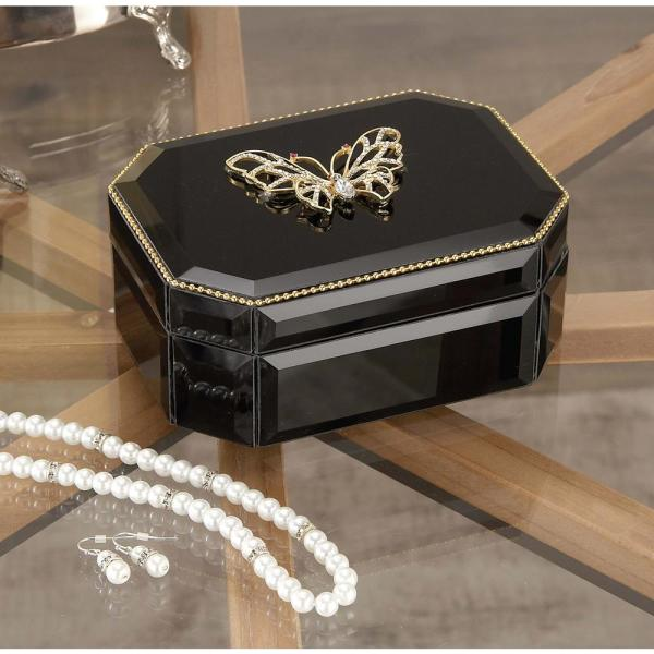 Litton Lane 6 in. x 3 in. Wooden Black and Gold