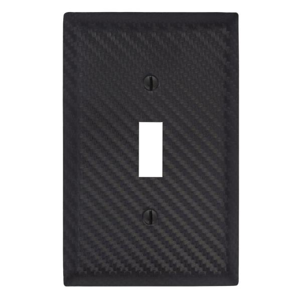 Branston 1 Gang Toggle Steel Wall Plate - Black