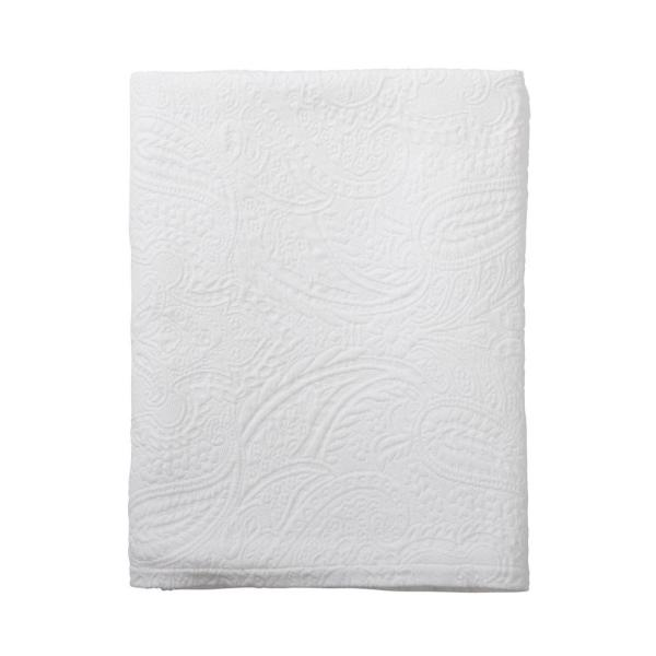 The Company Store Hillcrest Matelasse White Floral Cotton Queen Coverlet