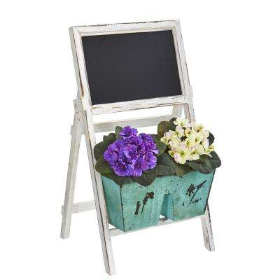 26 in. Indoor African Violet Artificial Plant in Farmhouse Stand with Chalkboard
