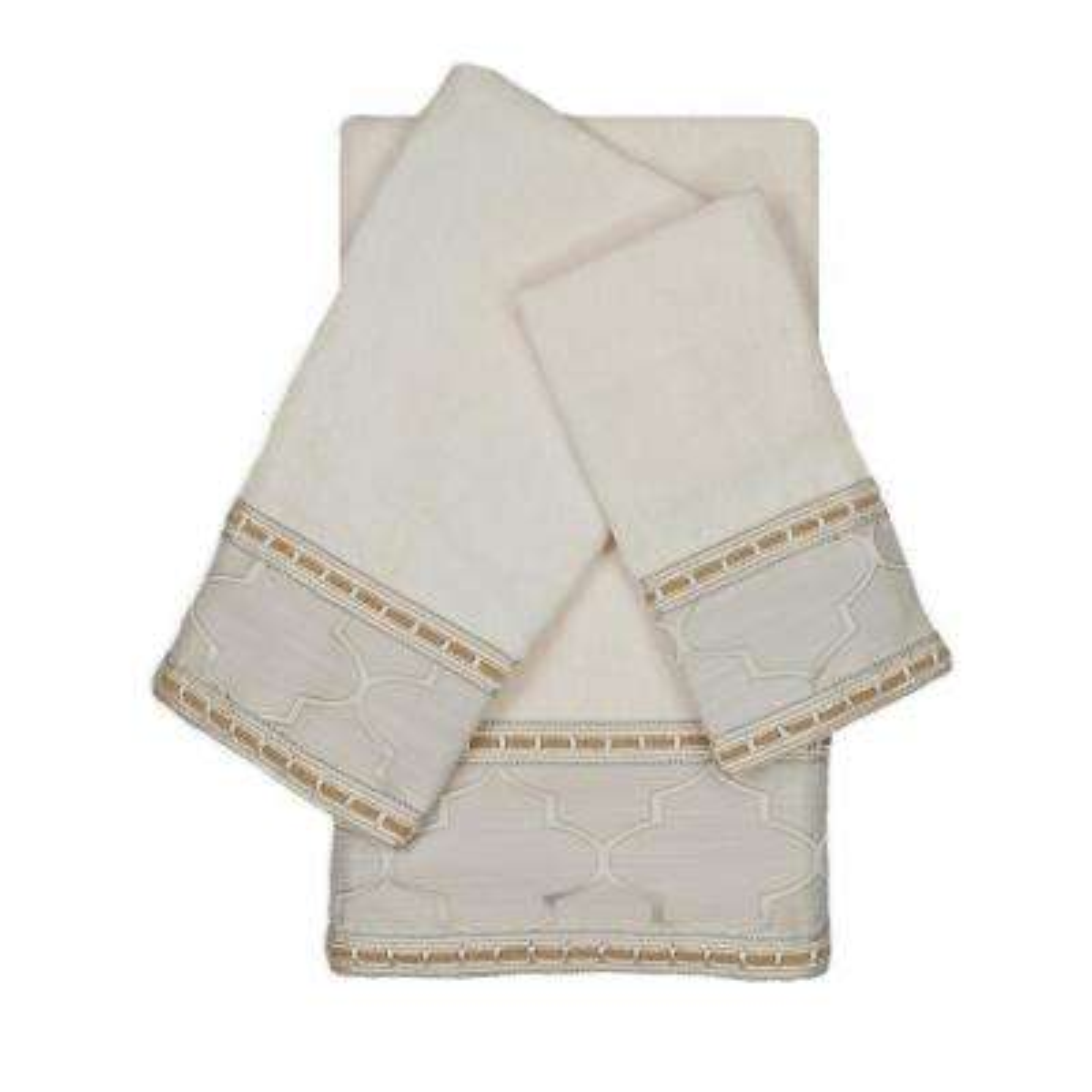 Stanton Ribbon Ecru Decorative Embellished Towel Set (3-Piece)