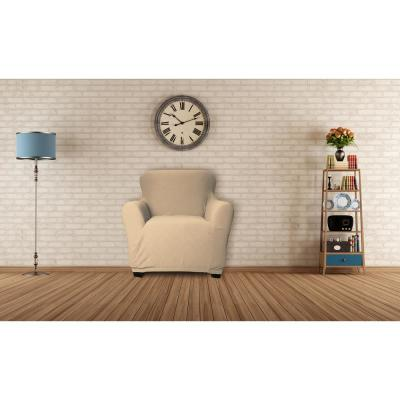Hanover Water Resistant Taupe Fit Polyester Fit Chair Slip Cover