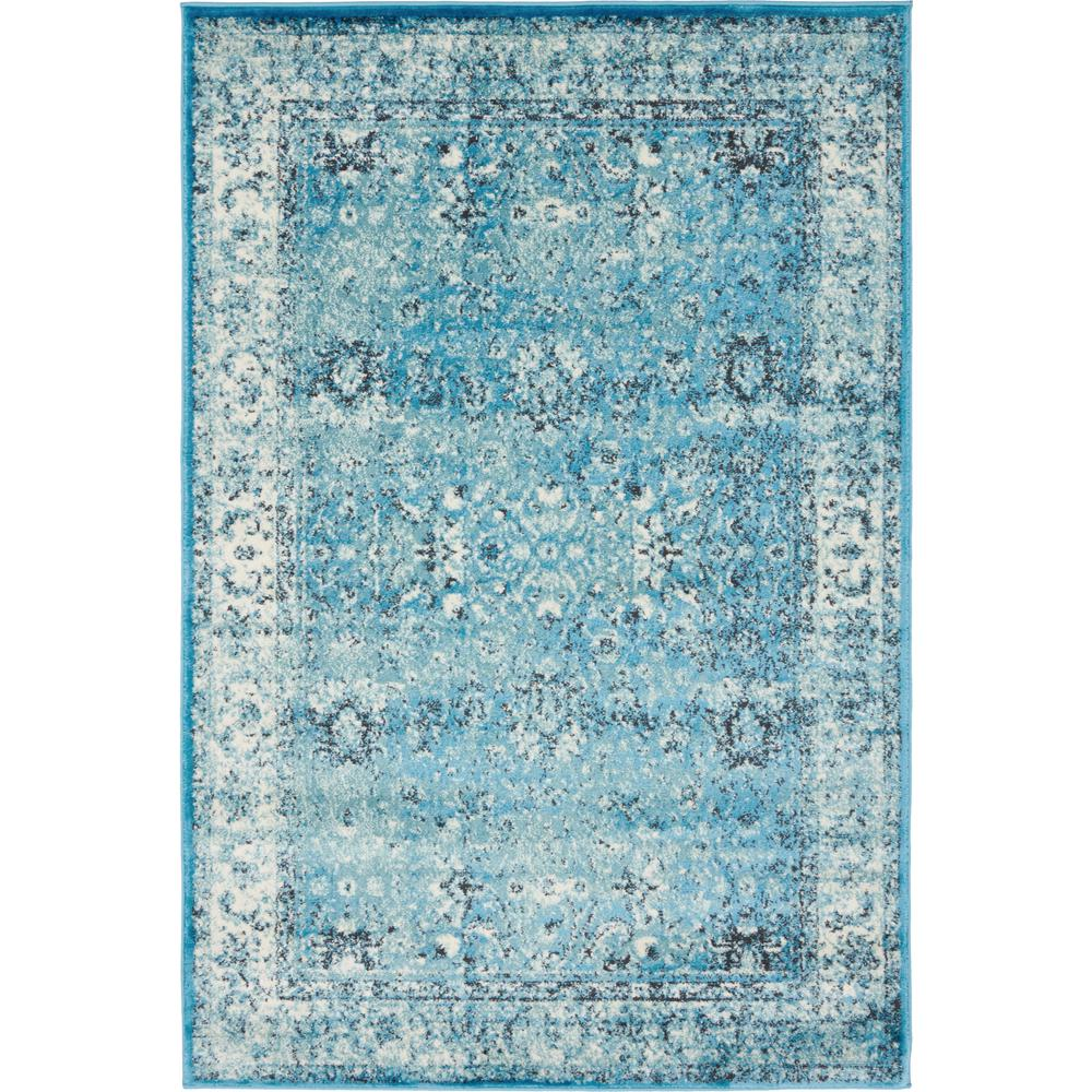 Linoleum Rug Turquoise Terracotta Area Rug Or Kitchen Mat: Unique Loom Istanbul Blue And Cream 4 Ft. X 6 Ft. Area Rug