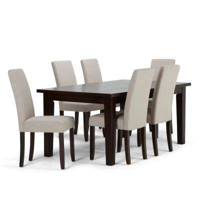 Acadian 7-Piece Dining Set with 6 Upholstered Parson Chairs in Natural Linen Look Fabric and 66 in. Wide Table