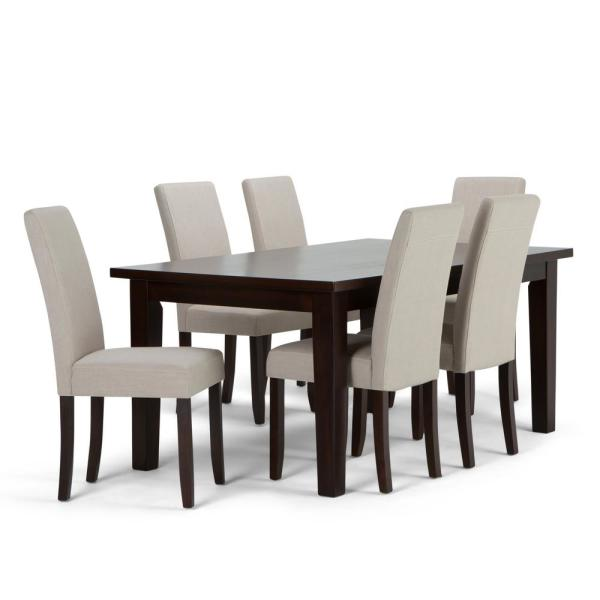 a7fecc5a1f Acadian 7-Piece Dining Set with 6 Upholstered Parson Chairs in Natural  Linen Look Fabric and 66 in. Wide Table