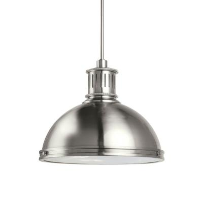 Pratt Street Metal 1-Light 16 in. 28-Watt Brushed Nickel Integrated LED Pendant