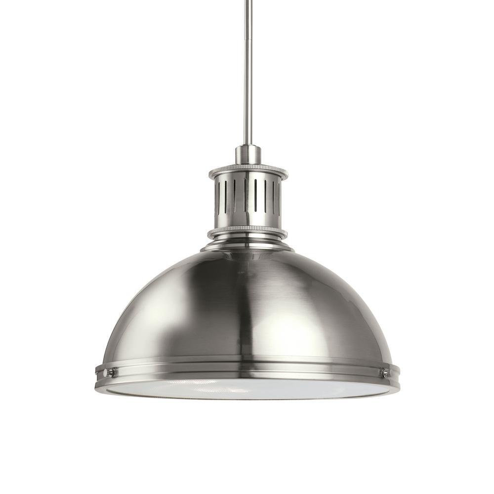 Pratt Street Metal 1-Light 16 in. 28-Watt Brushed Nickel Integrated LED Pendant