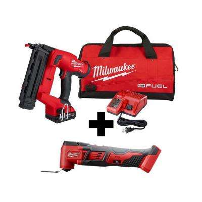 M18 FUEL GEN II 18-Volt 18-Gauge Lithium-Ion Brushless Cordless Brad Nailer Kit with M18 Oscillating Multi-Tool
