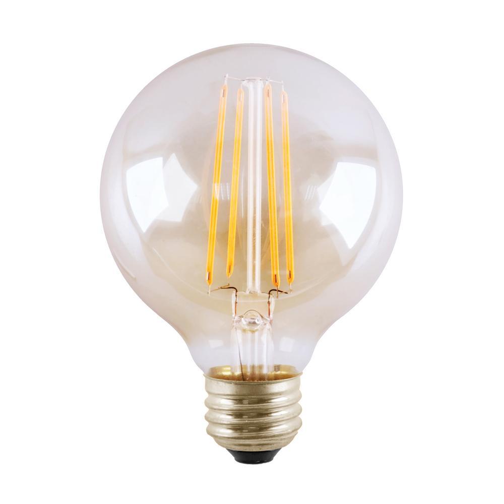 60-Watt Equivalent 5.5-Watt G25 2700K Dimmable LED Clear Filament Antique Vintage Light Bulb Warm White