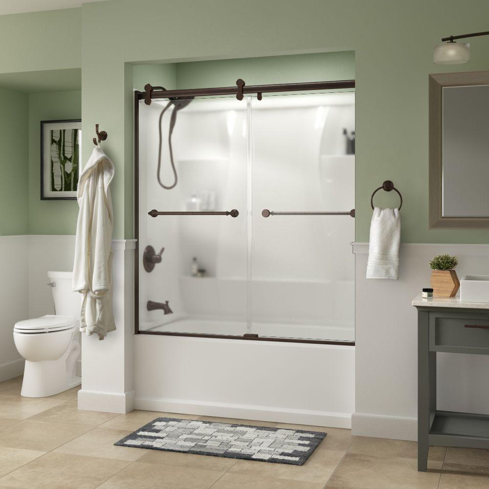 Mandara 60 x 58-3/4 in. Frameless Contemporary Sliding Bathtub Door in Bronze with Niebla Glass