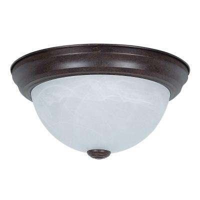 2-Light Rubbed Bronze Flush Mount