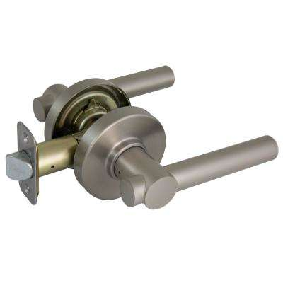 Woodbridge Satin Nickel Passage Door Lever with Round Rose