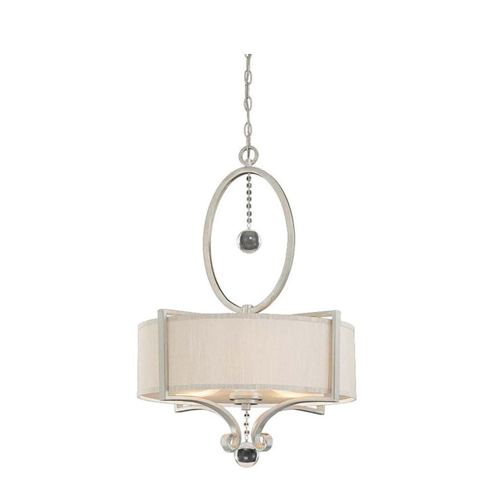 Gentry 3-Light Silver Sparkle Pendant