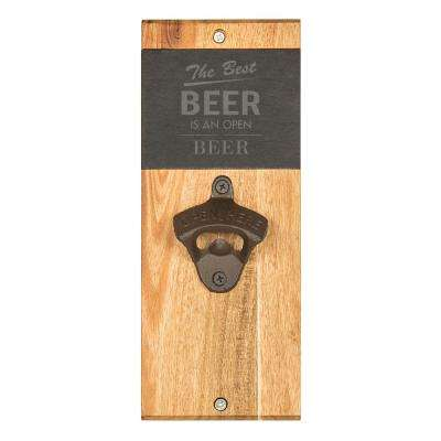 Open Beer Acacia and Slate Wall Mount Bottle Opener