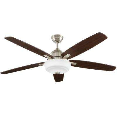 Sudler Ridge 60 in. LED Indoor Brushed Nickel Ceiling Fan with Light Kit and Remote Control