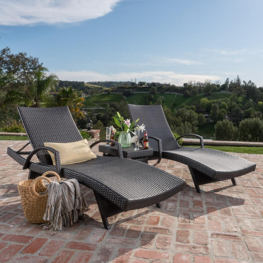 Salem Multi-Brown 3-Piece Wicker Outdoor Chaise Lounge