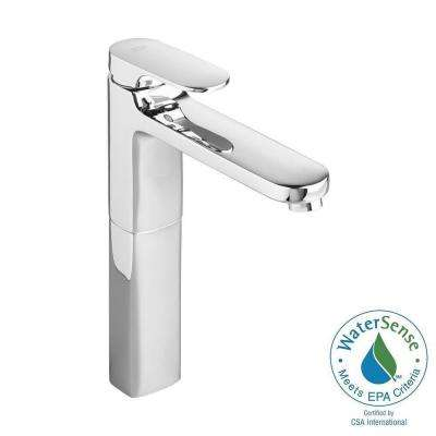 Moments Single Hole Single Handle Vessel Bathroom Faucet in Polished Chrome with Less Drain
